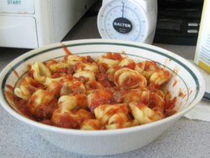 Cheese Tortellini in Meaty Marinara Sauce